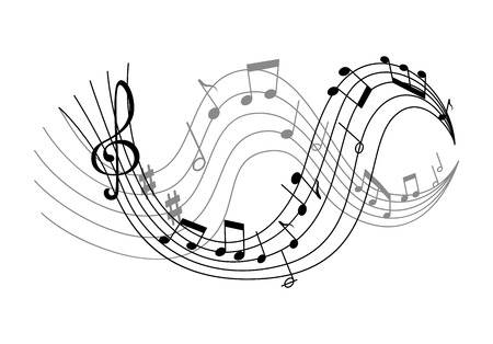 Music notes on scale vector banner. Musical sheet design, symbol of melody in black and white colors. Musical notes on stave, isolated on white background. Concept of musician and sound Ilustração