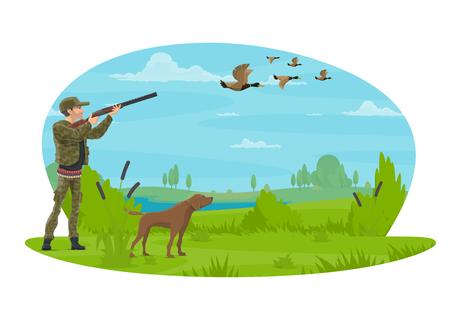 Jager die op eenden in bos met jachthond jaagt. Vector platte posterontwerp van jager man met geweer in camouflage outfit op jacht open seizoen voor wilde eend of gans in natuurpark jagen Vector Illustratie