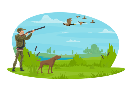 Hunter hunting ducks in forest with hunting dog. Vector flat poster design of hunter man with rifle in camouflage outfit on hunting open season for wild duck or goose in nature park hunt