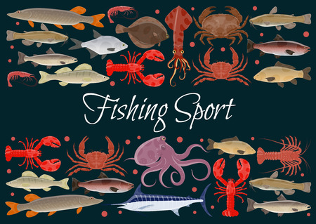Fishing sport seafood and fresh fish poster. Vector design of fisher catch sea food squid, turtle or tuna and shrimp, octopus or lobster crab and trout, ocean sardine and herring or flounder and squid Illusztráció