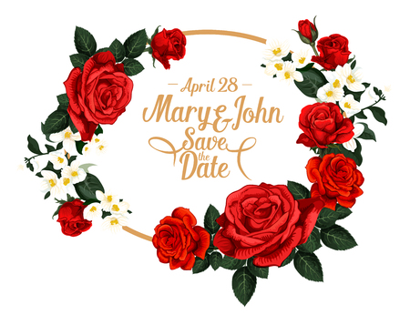 Save the Date wedding invitation card design of red roses flowers pattern in frame with bride and groom name. Vector floral roses bouquet for marriage greeting card or wedding save date