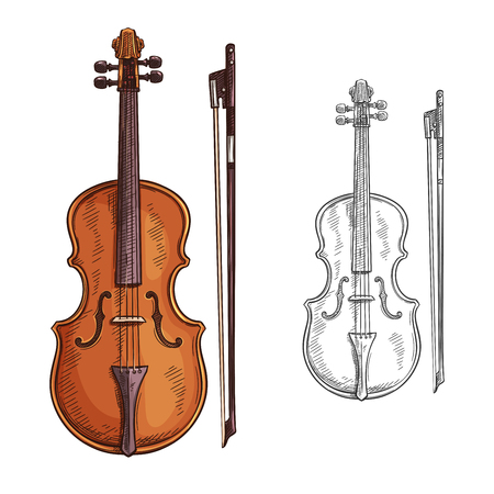 Classic violin with bow vector. Vector brown violin and bow isolated on white background. Concept of music and entertainment. Creative design with colorful and black and white violin