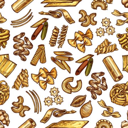Samples of italian pasta linguini, fettuccine, conchiglie, maccheroni or fagotini. Vector set with tortelloni or rigatoni, oregghiette or tortellini, rotelle or ditalini, gnocchi and ravioli