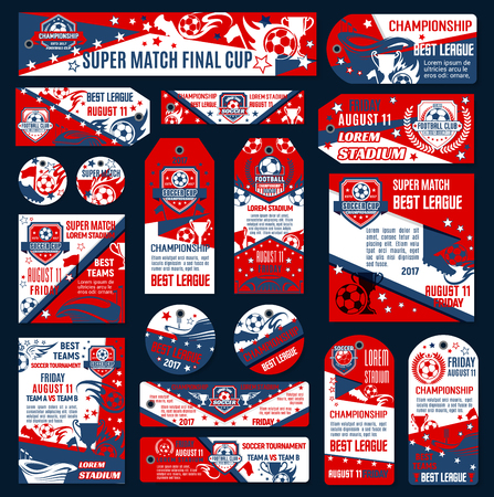 Soccer football championship template. Vector soccer team emblem set. Design templates for football league tournament. Vector sign of soccer ball, victory cup and stars, red, blue and white colors