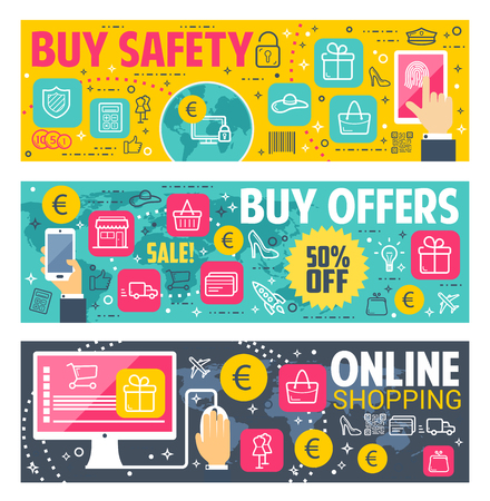 Buy safety and internet shop technology vector banners for online shopping. Digital retail store shopping privacy and fingerprint security for user buyers and payment transactions