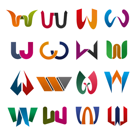 Letter W icons set for company or brand corporate identity.