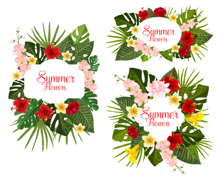 Summer icons of exotic tropical and garden flowers Illustration