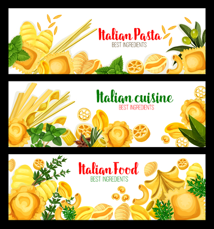 Italian pasta banners for traditional cuisine.