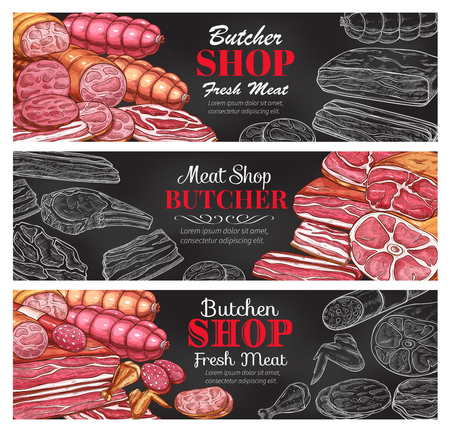 Butcher shop fresh meat products sketch banners.