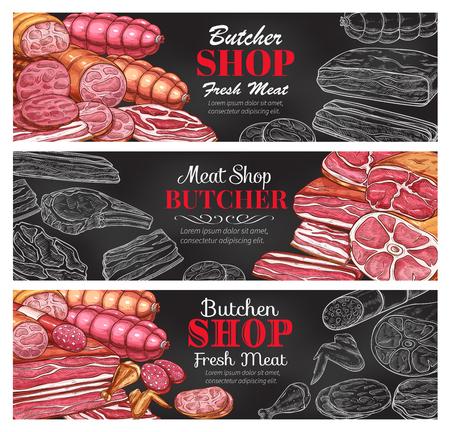 Butcher shop fresh meat products sketch banners. Reklamní fotografie - 101010550