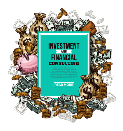 Vector sketch financial investments poster  イラスト・ベクター素材