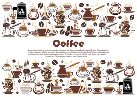 Coffee banner, edged with hot drink and beverage border. Cup of coffee, espresso and cappuccino mug, coffee machine and pot, coffee bean and hot chocolate for cafe menu cover and food packaging design Ilustração