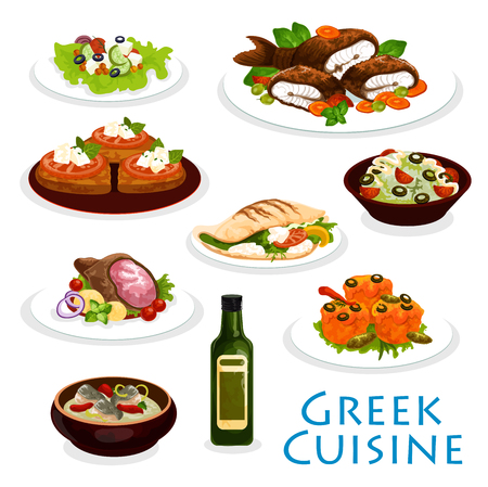 Greek cuisine icon with Mediterranean food. Vegetable salad, meat and feta cheese on pita bread, stuffed tomato, cucumber yogurt sauce tzatziki and fish soup, fried cheese, baked fish and grilled lamb. Ilustração