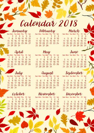 Plantilla de calendario 2018 de hojas de otoño o diseño vectorial de follaje de otoño de arce, roble o abedul y hoja de árbol de serbal. Manojo de follaje de álamo, haya u olmo y manojo de hojas de otoño estacionales de álamo temblón.