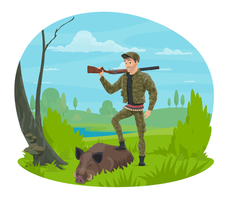 Hunter with rifle and trophy cartoon icon for hunting sport themes design. Huntsman in camouflage uniform standing on forest glade with gun and wild boar for hunter club or hunting open season design.