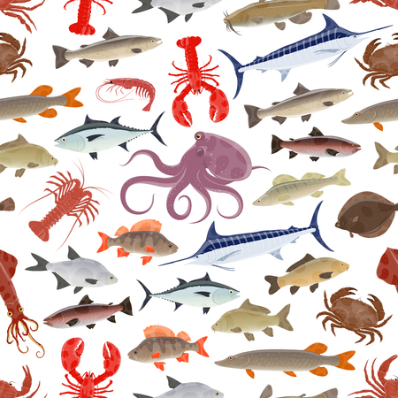 Fish and seafood pattern design Stock fotó - 101261001