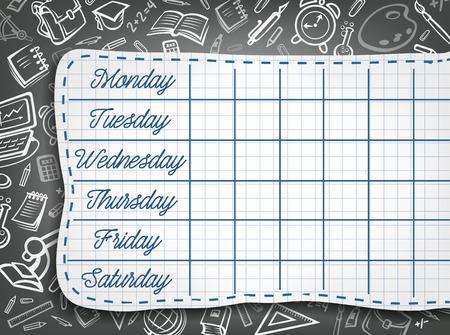 School tijdschema krijt ontwerp van wekelijks lesschema op zwart bord met briefpapier patroon. Vector schooltas of onderwijs levert chemieboek, microscoop of aardrijkskundebol op bord Vector Illustratie