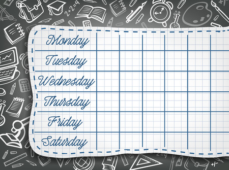 School timetable chalk design of weekly lesson schedule on black chalkboard with stationery pattern. Vector school bag or education supplies chemistry book, microscope or geography globe on blackboard Illustration