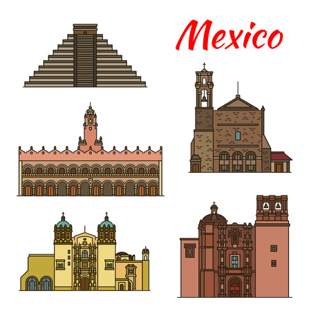Travel landmark of Mexican and North American architecture icon set. Ancient Aztec Pyramid of Chichen Itza, Merida City Hall and Sacromonte Church, Monastery of Santo Domingo and Saint Augustin Church Vectores
