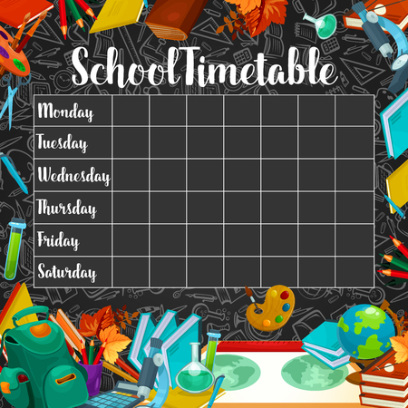 School timetable or lesson schedule template on chalkboard. Week plan for student and pupil on blackboard