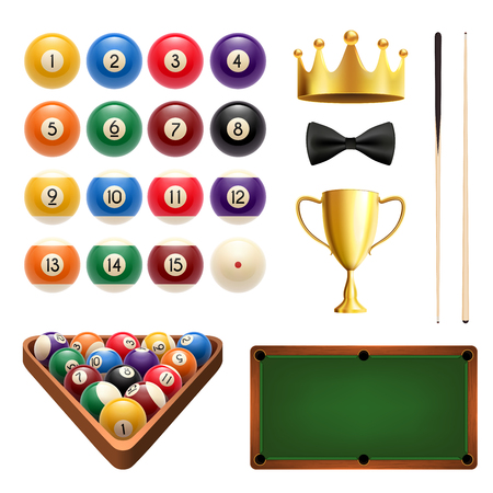 Billiards sport icon set