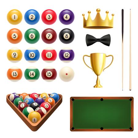 Billiards sport icon set