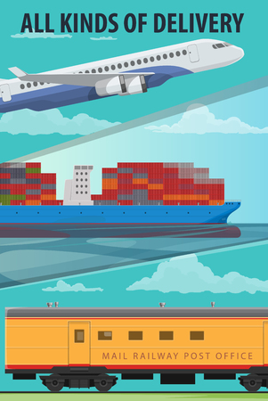 Delivery service banner of air cargo, maritime shipping and railway freight. Freight airplane, cargo ship with containers and freight train cartoon poster of cargo transport for logistic themes design.