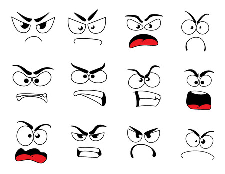 Angry human face with negative emotions icon. Upset emoticon with grumpy, evil and mad smile, furious smiley and irritated emoji cartoon character for feeling, mood or facial expression theme design. Ilustração