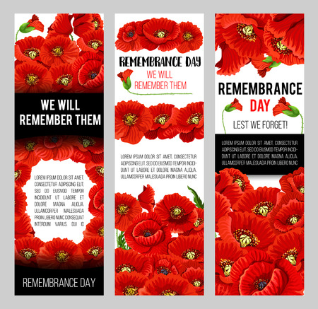 Remembrance Day poppy banner for World War soldier and veteran Memory Day template. Red poppy flower memorial card design with floral frame and Lest We Forget black ribbon
