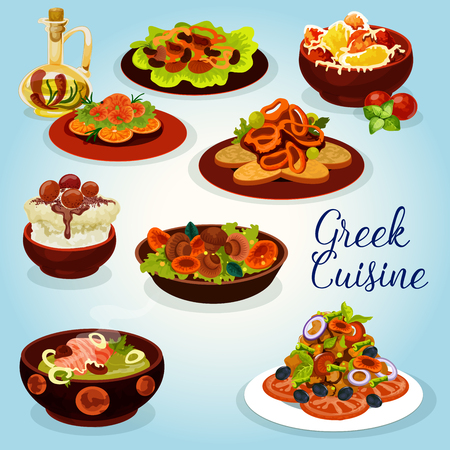 Greek cuisine icon with traditional lunch dish.