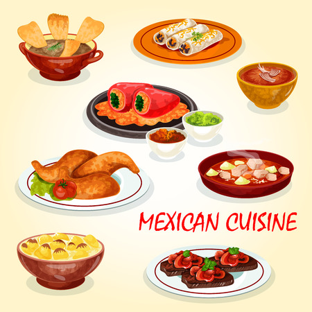 Mexican cuisine icon of dinner dish with hot sauce Illustration