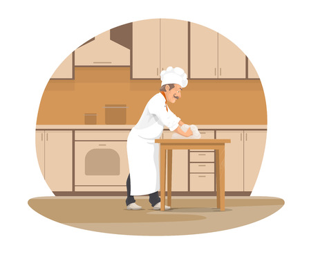 Baker making bread cartoon icon for bakery design.