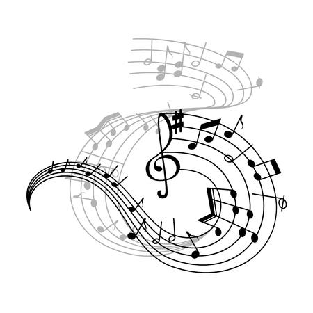 Icono de pentagrama de nota musical de símbolos de notación musical.