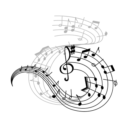 Music note stave icon of musical notation symbols.