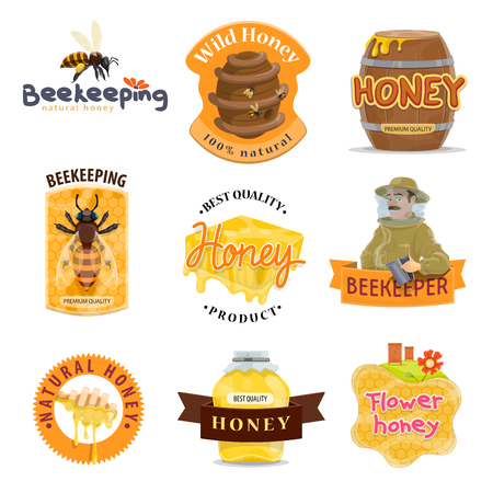 Honey natural food label set of beekeeping farm organic product. Bee, honeycomb and beehive, honey jar, dipper and barrel, beekeeper and apiary for honey packaging emblem and tag design.