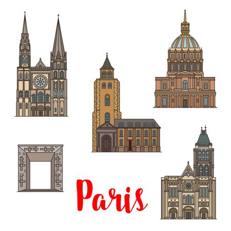 Reisoriëntatiepunt van Parijs lineaire icon set van Franse architectuur. Nationale residentie van de invaliden, de kathedraal van Chartres en de abdij van Saint Germain, de basiliek van Saint Denis en de Grande Arche.