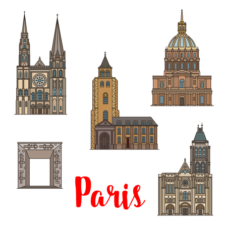 Travel landmark of Paris linear icon set of French architecture. National residence of the invalids, chartres cathedral and Abbey of Saint Germain, Basilica of Saint Denis and Grande Arche.