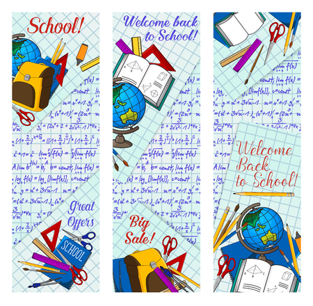 Back to school supplies discount offer banner for new school year sale season template. Student education items, pencil, book, ruler and pen, globe and backpack on squared paper for advertising design