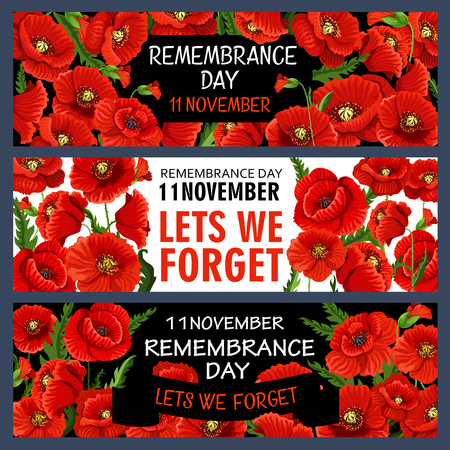 Remembrance Day banner template design set