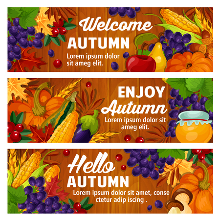 Welcome autumn banners of seasonal pumpkin, fruit or berry and mushroom harvest in foliage. Vector maple or poplar and chestnut leaf, oak acorn or corn and grape, cherry and honey on wooden background.  イラスト・ベクター素材