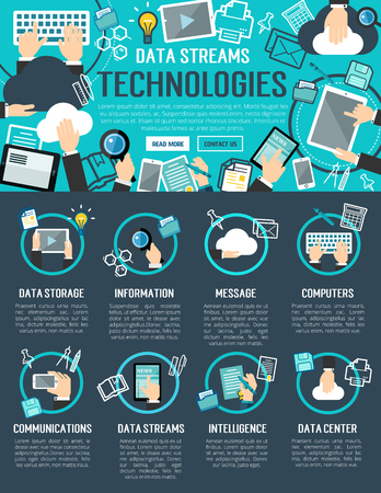 Data stream and cloud computing technology banner Illustration