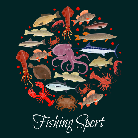 Fishing sport poster with circle of seafood, fish