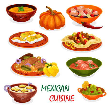 Mexican cuisine icon of dinner dish and appetizers