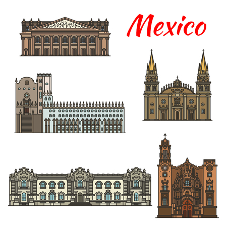 Travel landmark of Mexico thin line icon of famous tourist sight. Guadalajara Cathedral, Guanajuato University and Government Palace, Degollado Theater and La Valenciana Church for tourism design.