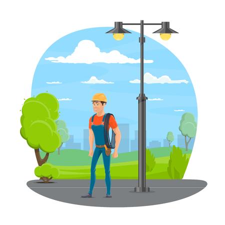 Lineman con icono de dibujos animados de herramienta de trabajo para el diseño de la profesión de técnico eléctrico. Ilustración de vector