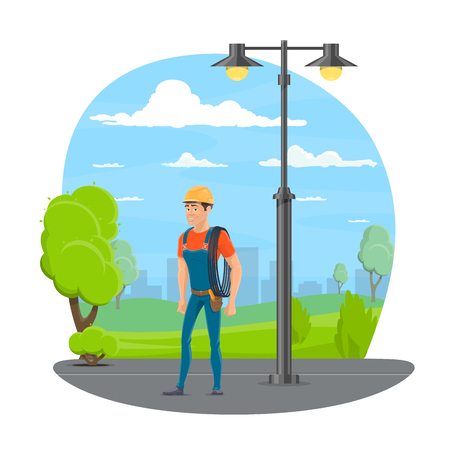 Lineman with work tool cartoon icon for electrical technician profession design.