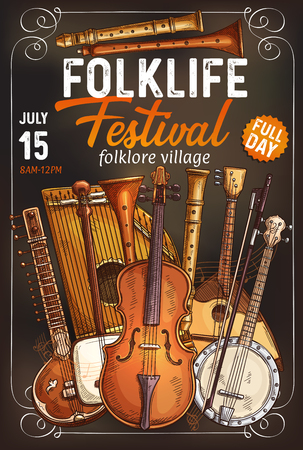 Folk music festival invitation poster with ethnic musical instrument. Italian viola, Indian sitar and rebec, Japanese shamisen, german zither and american banjo, russian balalaika and flute banner.