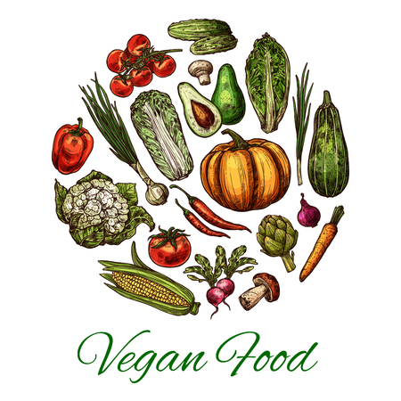 Vegetable and mushroom poster for vegan food. ,