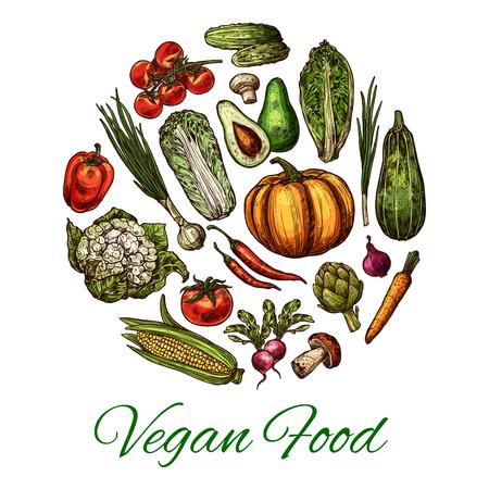Vegetable and mushroom poster for vegan food. , Imagens - 101274104
