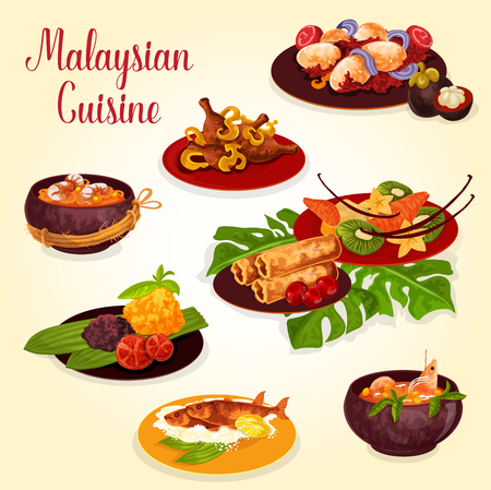Malaysian food icon with indonesian cuisine dish Stock Vector - 101291117
